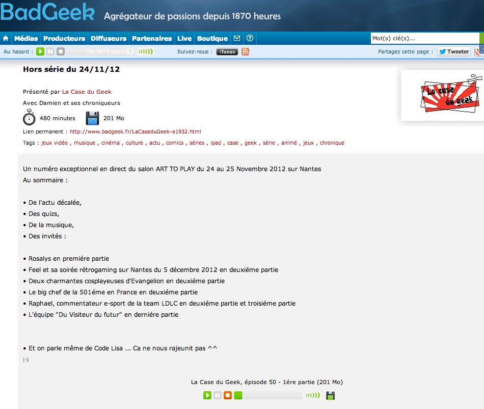 La case du geek - Rosalys - 2012-12