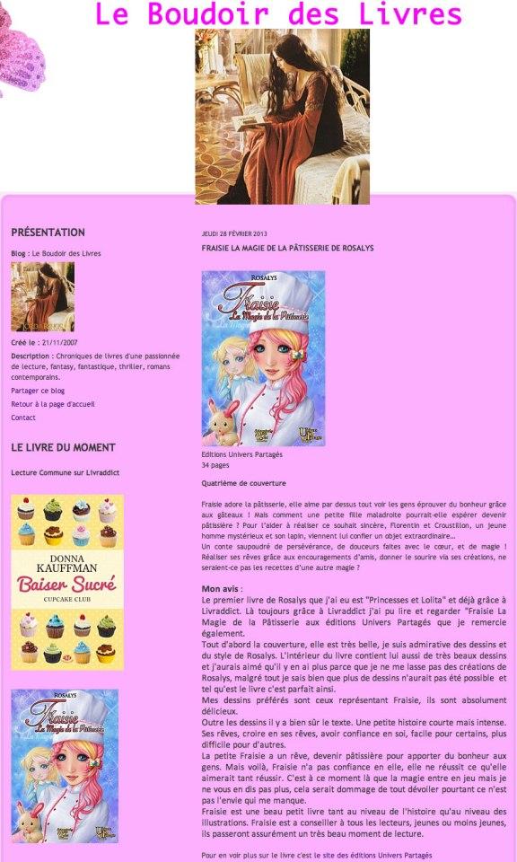 Le boudoir des livres - Fraisie, la magie de la pâtisserie - 2013-02