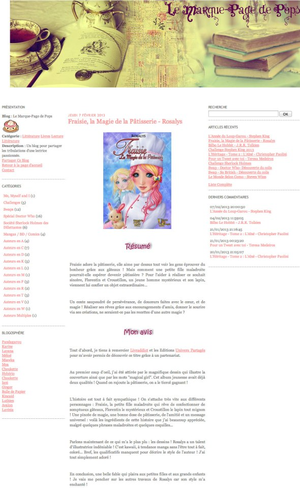Le marque-page de Pops - Fraisie, la magie de la pâtisserie - 2013-02