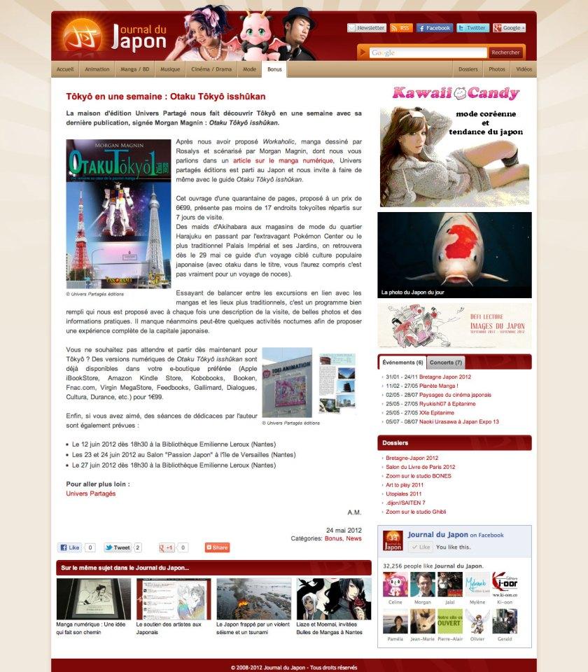 Journal du Japon - Otaku Tōkyō isshūkan - 2012-05