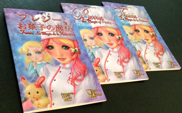 Le livre dans ses 3 éditions : japonaise, anglaise et française