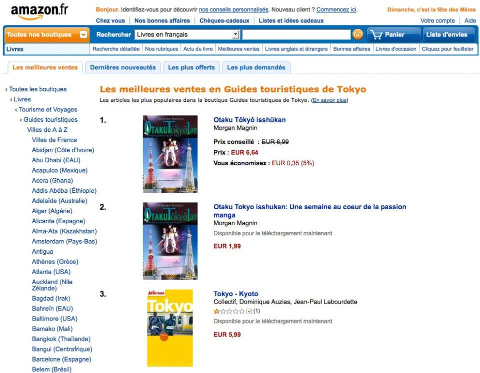 """Otaku Tōkyō isshūkan"", Top 1 best seller Japon sur Amazon.fr"